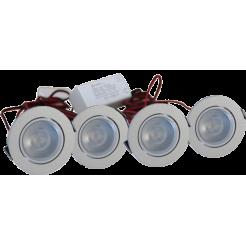 4 chrome LED inbouwspots dimbaar 4W (inclusief trafo)