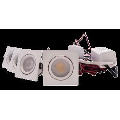 4 witte LED inbouwspots vierkant dimbaar 4W (inclusief trafo)